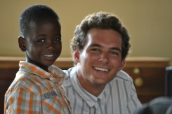 Kyle with Pastor Dongo's youngest son.